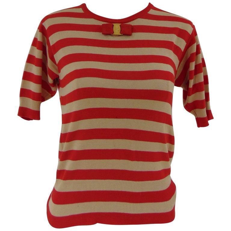 Salvatore Ferragamo red cream stripes short sleeves cotton shirt