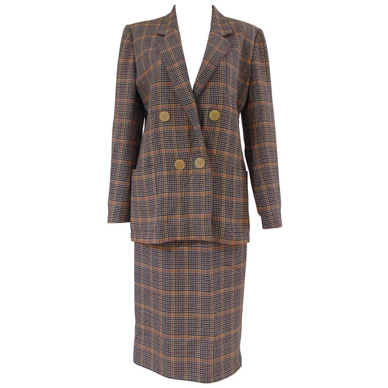 1980s Hermes multicoloured wool skirt suit For Sale
