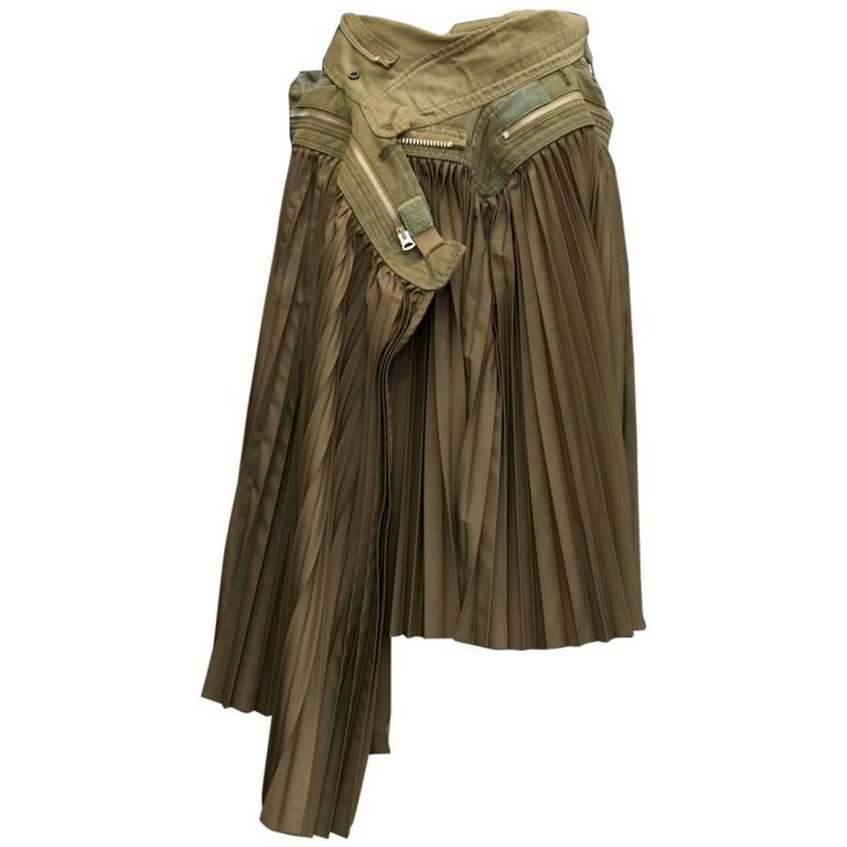 2000s, Junya Watanabe for Comme des Garçons khaki fabric pleated skirt