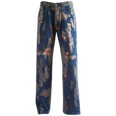 Tom Ford for Gucci Spring-Summer 2001 Men's painted floral denim jeans