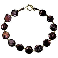 Gemjunky Bronzy Mauve Coin Pearl Choker Necklace