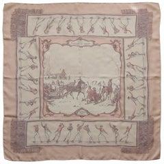 HERMES Silk Scarf Les Plaisirs Du Froid Pink White Grygkar 90 cm