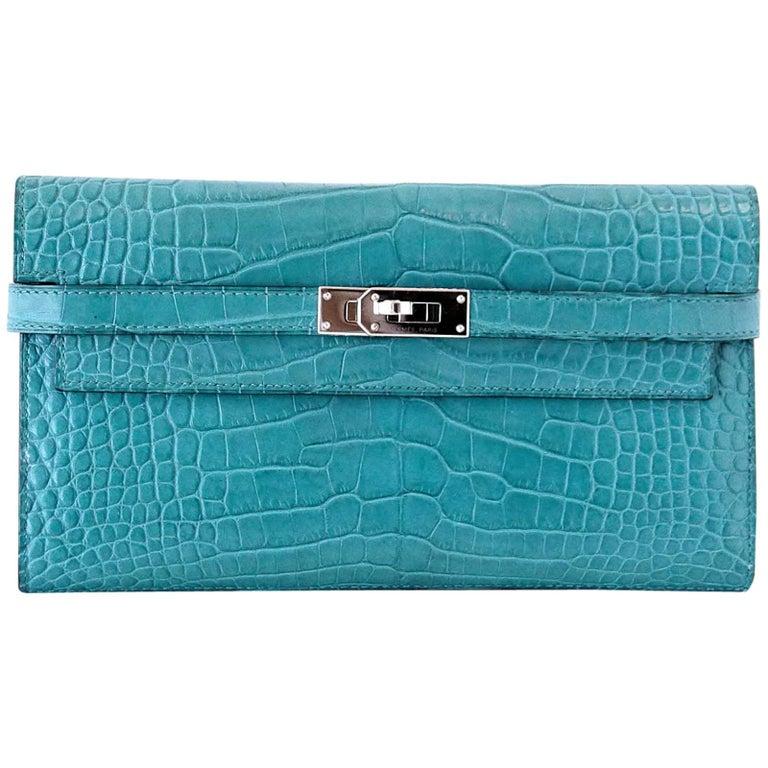 Hermes Kelly Longue Long Wallet / Clutch Blue Paon Matte Alligator PHW
