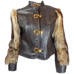 1970s Leather and Fur Coat