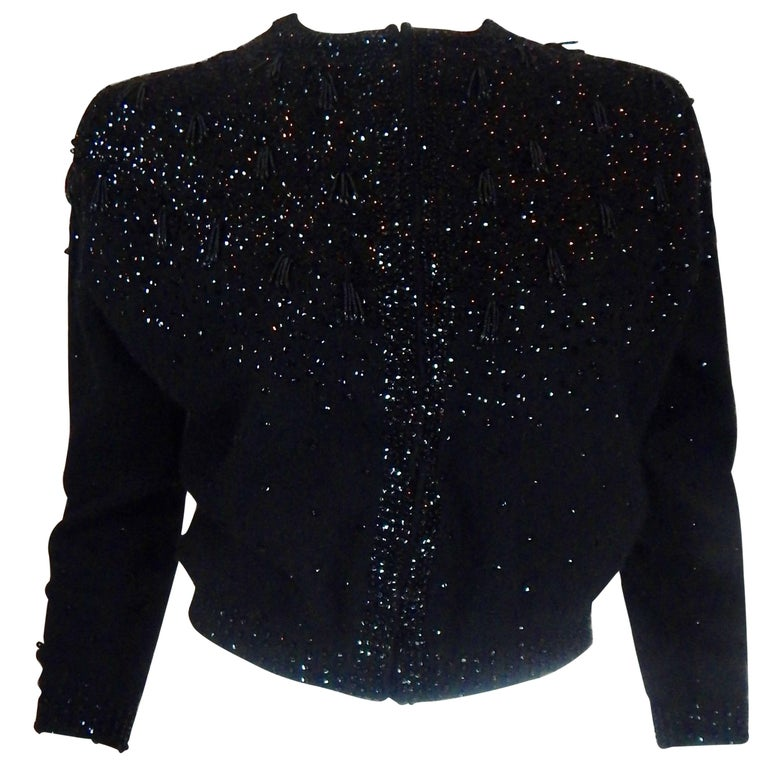 1950s Beaded Sequin Black Cardigan Sweater
