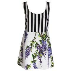 New Dolce and Gabbana White Striped Wisteria Floral Mini Dress 40 UK 8