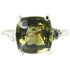 6.7 Carat Green Spinel and Zircon Fashion Ring