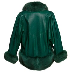 1980s Jean Claude Jitrois Jewel Green Leather Dolman Sleeve Fox Fur Trimmed Coat