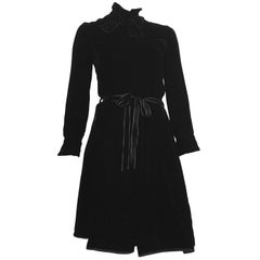Dior for El Jay 1960s Black Velvet Evening Dress with Bow & Belt Size 6.