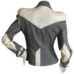 Christian Dior John Galliano 90's Houndstooth Jacket w Tooled White Leather Trim