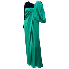 1980's Jacqueline de Ribes Jade Green Silk & Black Velvet Evening Gown