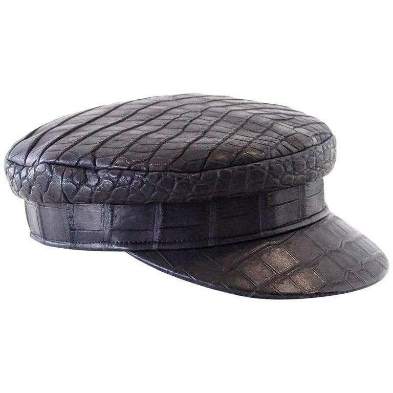 5239c1044ea Hermes Cap Matte Black Crocodile Newsboy Hat 57 w  Box Very Rare For Sale.  Guaranteed authentic ...