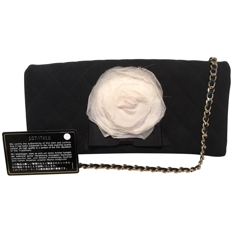 Chanel Black and White Quilted Silk and Nylon Camellia Flower Clutch with Strap For Sale