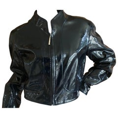 Thierry Mugler Couture 1980's Patent Leather Cropped Jacket