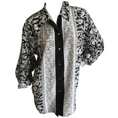 Versus Gianni Versace Vintage Graphic Black and White Barocco Silk Blouse Sz 46