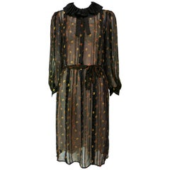 John Yang for Jack Mulqueen Silk Floral Dress