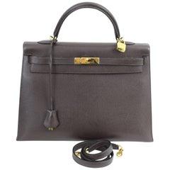 2008 Hermes Dark Brown Epson Leather Kelly 36 Bag With Shoulder Strap