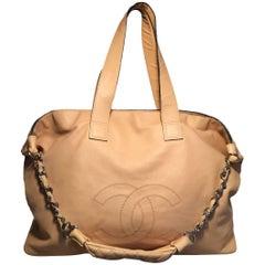 Chanel Buttery Beige Lambskin Weekend Shoulder Bag Tote