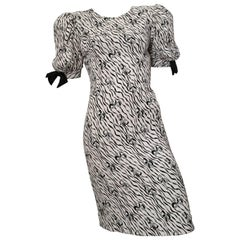 Pierre Cardin 1980s Bow Pattern Evening Dress Size 10.