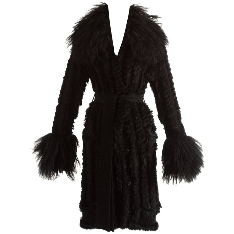 Dolce & Gabbana black sheepskin knitted cardigan