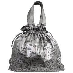 Chanel Coco Cambon Tote Bag 44 in Silver Coated Canvas