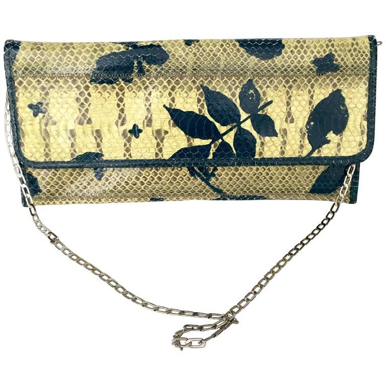 Vintage Carlos Falchi Hand-Painted Python Skin Clutch Handbag