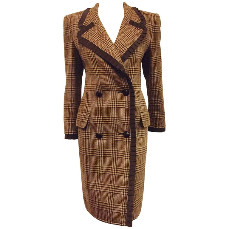Visionary Valentino Wool Houndstooth Coat Dress Brown/Beige w/grosgrain Ruffles