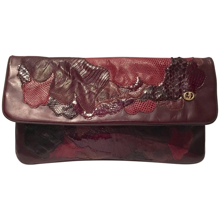20th Century Italian Exotic Leather Patchwork Clutch Hand Bag By, Carlos Fiori For Sale