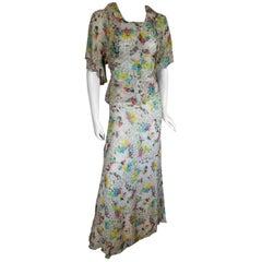 1Aristos Carnaby Street Vintage Rayon Chiffon Floral 2 Piece Maxi Skirt & Blouse
