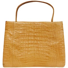 Nancy Gonzalez Large Wallis Tan Crocodile Tote Bag with Top Handles
