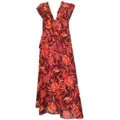Diane Von Furstenberg 1980s Silk Floral Vest & Skirt Set Size Small.