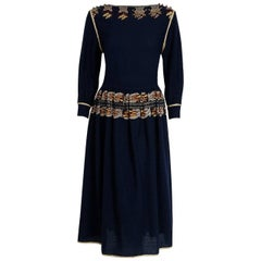 1979 Chloe by Karl Lagerfeld Documented Navy Embroidered Wool Bohemian Dress
