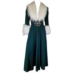 Vintage David Butler By Pressler Teal Green 1970s Art Deco Maxi Dress Coat