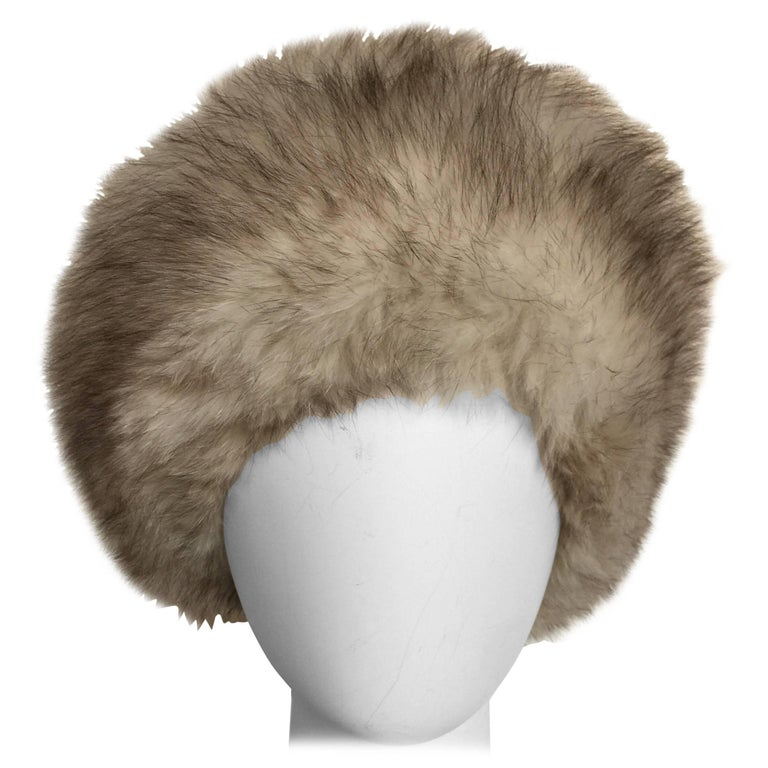 Grey and white fox fur hat