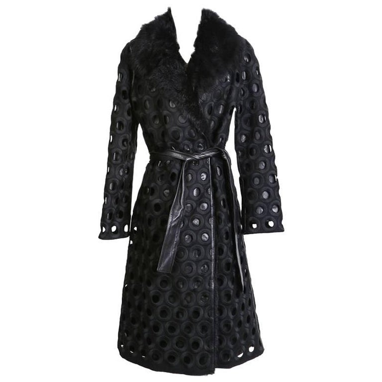 Marc Jacobs Wool and Leather Coat with Faux Fur Collar and Circular Cut Outs