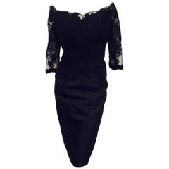 Marvelous Helen Morley Black Silk Dress w/ Guipure Lace Bodice and Sleeves