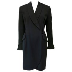 1990s Tracy Reese for Magaschoni Black Blazer Dress with Velvet
