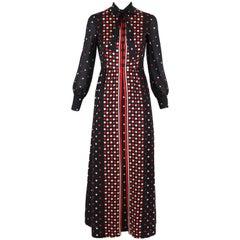 1970's Geoffrey Beene Printed Maxi Dress w/ Neck Ties