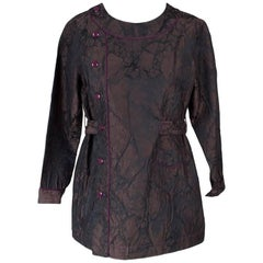Jean Paul Gaultier Silk Jacket with Organic Print Texture and Belt
