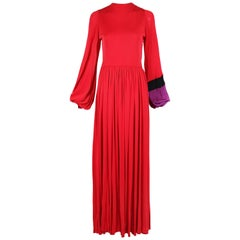Bob Mackie and Ray Aghayan Red Jersey Maxi Dress with Colorblocked Sleeve Cuff