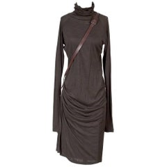 Jean Paul Gaultier Stretch Cotton Turtleneck Dress with Leather Belt Strap