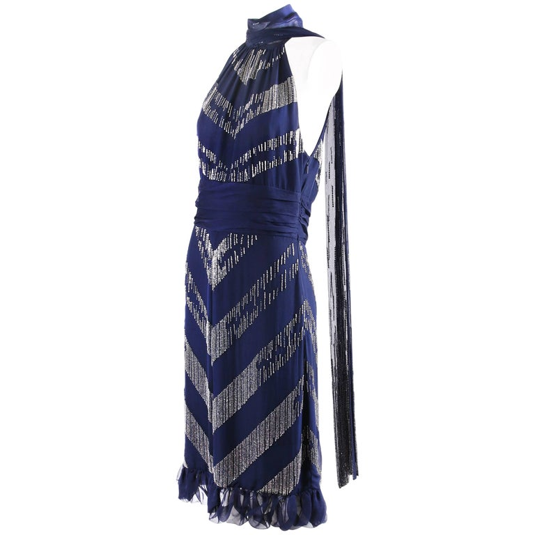 Gucci Beaded Halter Neck Cocktail Dress with Plunging Neckline and Beaded Scarf
