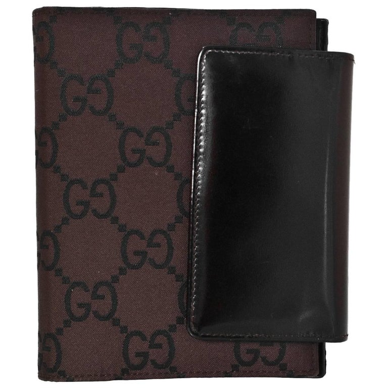 gucci brown monogram agenda notebook wallet for sale at 1stdibs. Black Bedroom Furniture Sets. Home Design Ideas