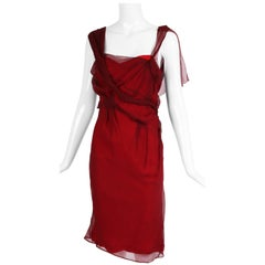 Christian Dior by John Galliano Burgundy Chiffon Asymmetrical Cocktail Dress