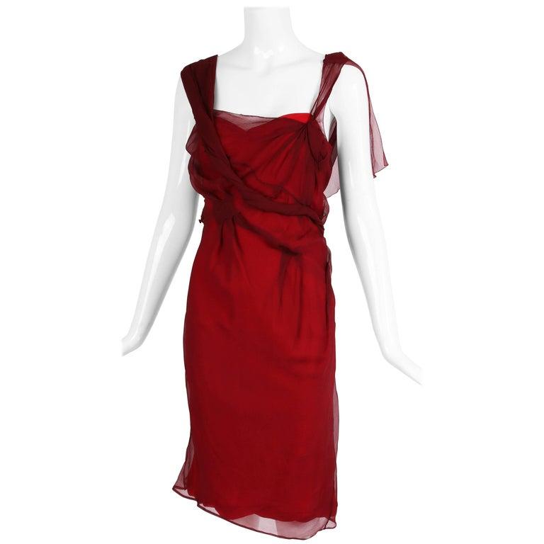 Christian Dior by John Galliano Burgundy Chiffon Asymmetrical Cocktail Dress