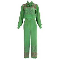 1970's Valentino Silk Printed Blouse & Pants Lounging Ensemble