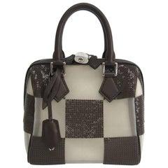 Louis Vuitton New Chocolate Checker Sequin Top Handle Satchel Bag W/Accessories