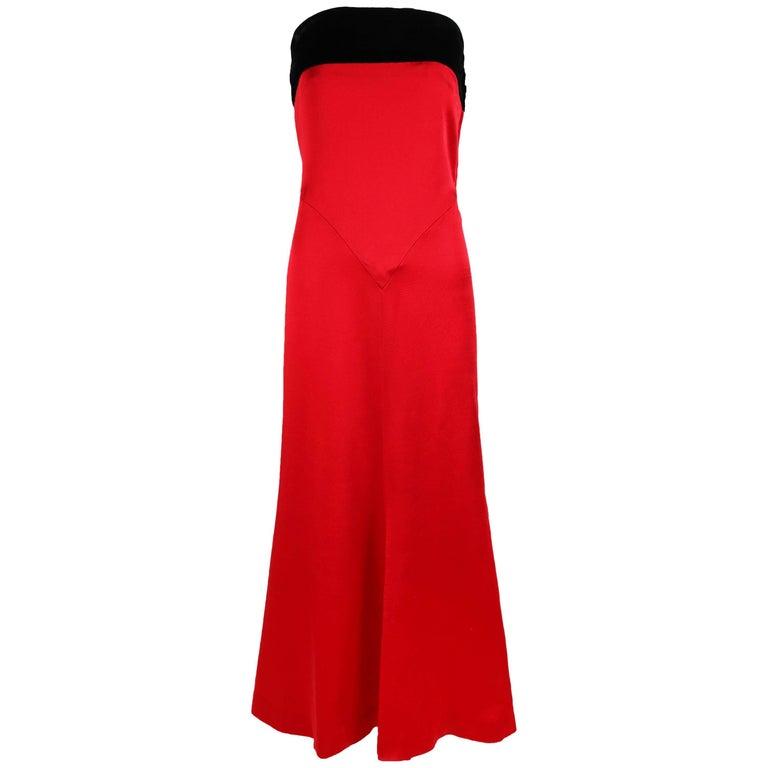 Yves Saint Laurent YSL Red Strapless Gown Dress w/Black Velvet Band at Bust