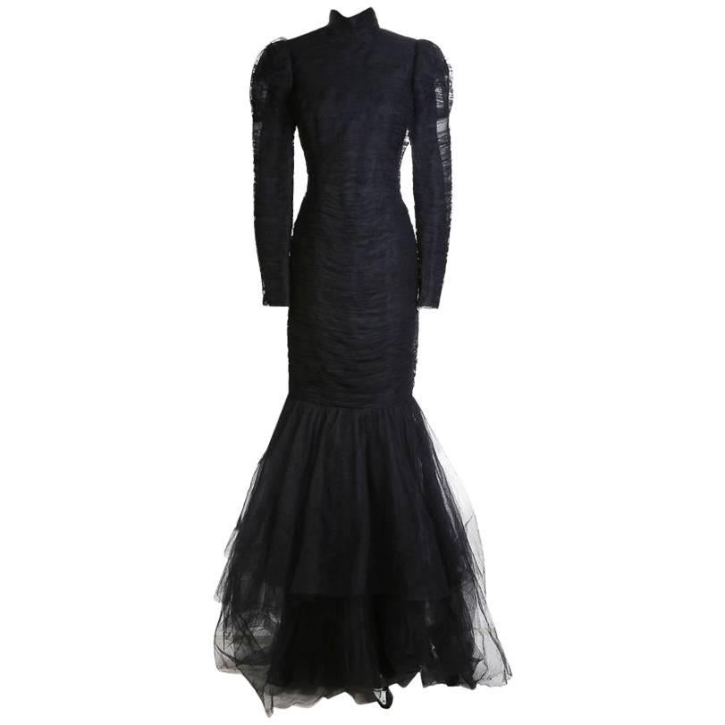 Ralph Lauren Ruched Tulle Gown