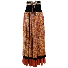 "Unlabeled ""Cossack"" YSL Inspired Velvet Burnout Maxi Skirt w/Gold Metallic Trim"